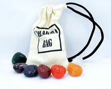 Chakra Set Cotton Drawstring Pouch Bag 7 Tumbled Stones Info Card Quartz B035