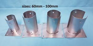 """HEAVY DUTY GALVANISED BOLT DOWN ROUND/CIRCULAR POST FENCE FOOT/80mm 3.2"""" 100mm4"""""""