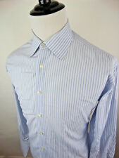 Ike Behar Neiman Marcus Mens Striped Blue White Dress Shirt Large French Cuffs