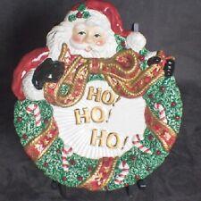 Fitz and Floyd Santa Wreath Canape Plate, Decorative Christmas Plate Ho Ho Ho