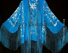 Flamenco Embroidered Silk Fringe Jacket Kimono Teal & Gray Short Maya Matazaro
