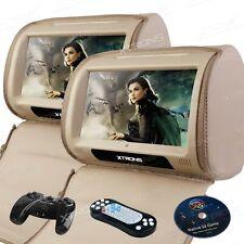 """XTRONS 2 X 9"""" Touch Screen Rear Monitor Car Headrest Pillow DVD Player IR FM USB"""