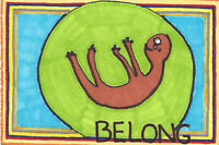 Original Drawing by Jay Snelling. Outsider Art Brut. Belong. Mixed Media
