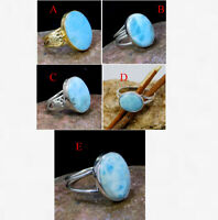 Natural Larimar Gemstone Handmade Ring Solid 925 Sterling Silver Jewelry MR2073