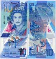 East Caribbean 10 Dollars ND 2019 P 56 POLYMER QE II UNC
