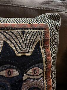 Laurel Burch Cat Tapestry Throw Pillow 17 X 17 Black, Brown, Tan TRIBAL