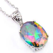 Oval Cut Rainbow Mystical Fire Topaz Gemstone Platinum Plated Necklace Pendants