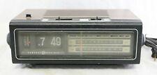 Vtg GE Flip Number Alarm Clock Faux Woodgrain AM FM Radio -Tested