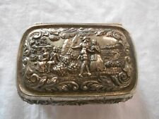 vintage metal embossed with couples men & women 4 foot jewelry box trinket box