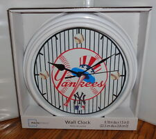 "NEW YORK YANKEES WALL CLOCK. 9"" DIA. AMERICAN BASEBALL.....FREE SHIPPING"