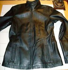 Ladies Small, S, 100% leather jacket, black, mock neck zip up, soft, great cond.