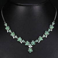 Sterling Silver 925 Genuine Green Emerald & Lab Diamond Floral Necklace 17.5 In