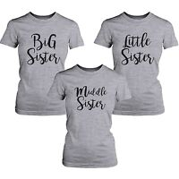 Big Middle Little Sister Matching T-shirts Gifts for Sis Grey Basic Style Tee