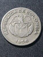 Columbia 1956 Republic  10 centavos copper-nickel  18.5mm circulated coin...