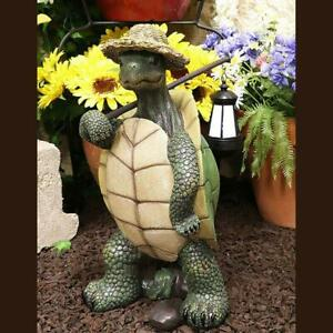 Statues Gardens Hiking Tortoise With Straw Hat Ornament Desktop Decorations