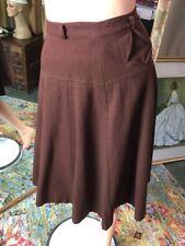 Vintage 1960's Barry Ashley Brown Wool Skirt Waist 24� A Line Knee Length