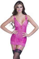 Soft Lace Cup Chemise With Garters And G-String Pink One Size