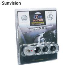 12/24V-DC Car Cigarette Lighter Charger 1-to-3 Splitter Adapter + USB 5V Port