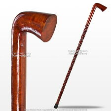 "36"" Hand Craved Art Deco Eucalyptus Wooden Walking Cane Stick with 4"" Handle"