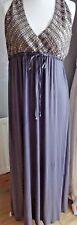 💕Gorgeous MONSOON Sequin Beaded Jersey Drape Grecian Grey Maxi Dress 14