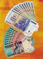 10 x 10 Billion Zimbabwe Dollars + 10 x 1000 Indonesia Rupiah Banknotes Currency