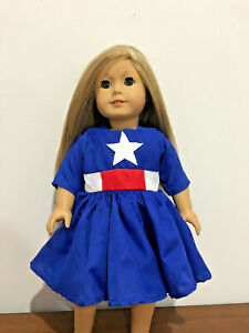 "Fits 18"" Doll Patriotic Dress For American girl Doll Clothes Captain America"