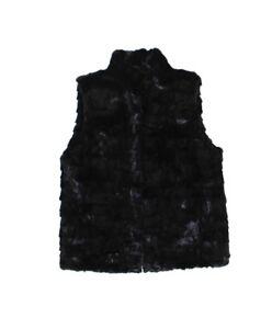 811523 New Plus Size Black Ranch Mink Fur Sections Vest Jacket Coat Stroller XL