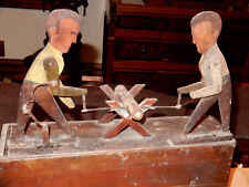 ANTIQUE FOLK ART AUTOMATON MEN SAWING A LOG CIRCA 1900 ORIGINAL PAINT