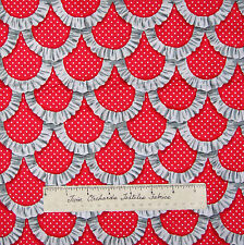 Apron Ruffles Fabric - Printed Red & White Scallop - Michael Miller YARD