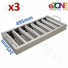 More details for 3x canopy grease baffle filter stainless steel kitchen extraction hood 495x245mm