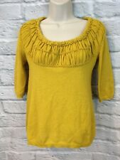 Anthropologie Guinevere A New Wrinkle Mustard Ruched Wool Angora Sweater Sz Xs
