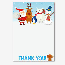 Christmas Thank You Notes Letters. Santa Rudolph Snowman Penguin Bear