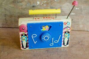 "Vintage Fisher Price Wooden TV Radio Music Box Toy ""Jack & Jill"" Works"
