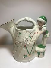 Lenox French Horn Pitcher Santa's Holiday Toy Shop Elf Green White Collectible