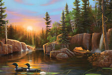 """LED Lighted~Sunset Loons Canvas Wall Art w/Timer~Picture Lodge Decor 24"""" Print"""