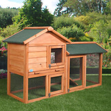 "Chicken Coop Backyard Hen Wooden Rabbit House Wood Hutch w/Run 58"""