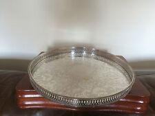 """BELLISSIMO argento placcato Galleria circolare Vassoio 13.75"""" di diametro (SHEFFIELD made)"""
