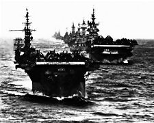 New 8x10 World War II Photo: Aircraft Carrier Group after Action in Philippines