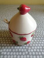 Vintage Ceramic Lidded Jam/Preserve Pot & Spoon. New