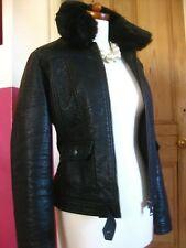 Ladies NEXT black faux leather fur collar JACKET UK 16 14 aviator flying bomber
