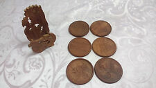 6x Vintage Hand Carved Round Wood Coasters in Wood Container