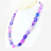 Untreated 462.00 Cts Natural Single Strand Purple Onyx Beads Necklace NK 23E35