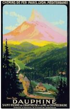 """Vintage Illustrated Travel Poster CANVAS PRINT ~ Dauphine Europe 36""""x24"""""""