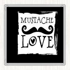 Black White Mustache Love Quote Drinks Mat Coaster