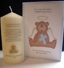 Personalised Godson Baptism Christening Poem Candle & matching card gift