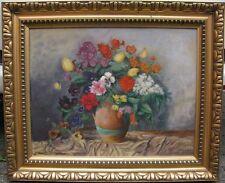 Jugendstil Gemälde Blumen Stillleben Frühlingsstrauß / Sommerstrauß El. O. 1909