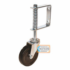 "4"" 100mm Diameter Spring Loaded Swivel Jockey Wheel GATE CASTOR Non Marking 57kg"