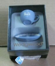 Wedgwood Jasperware Blue Miniature Cup & Saucer Boxed