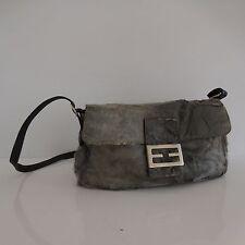 Mini sac à main simili peau cuir gris noir vintage XXème