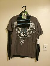 Men's Skull Long Sleeve T-Shirt  With Beanie Size Medium  New